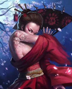 Sexy geisha artwork illustration
