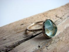 Raw Aquamarine Gemstone Sterling Silver Ring