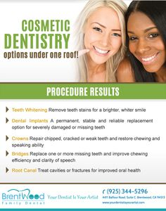 At #BrentwoodFamilyDental we offer the latest Cosmetic Dentistry options under one roof for you and your family.