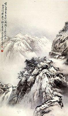 The Art of Au Ho-Nien, 歐豪年的繪畫藝術 Asian Landscape, Chinese Landscape Painting, Chinese Painting, Landscape Art, Landscape Paintings, Japan Painting, Ink Painting, Art Chinois, Art Asiatique