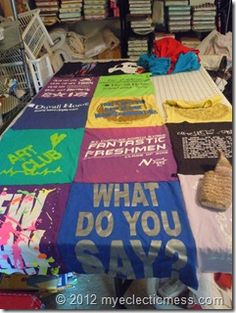 tshirt quilt using serger and fleece backing..