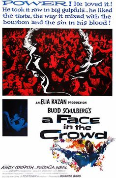 A Face In the Crowd Andy Griffith, Patricia Neal, Anthony Franciosa Walter Matthau, Lee Remick Merle Oberon, Sean Penn, Catherine Deneuve, James Dean, Old Movies, Vintage Movies, Movies 2019, Lee Remick, Patricia Neal
