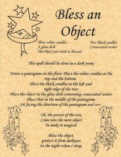 Bless an Object, Book of Shadows Page, BOS Pages, Witchcraft Spell, Wicca Poster picclick.com by Roemah Nafas