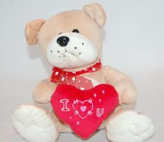 "Valentine Puppy Dog I Love You Red Heart  9"" Plush Stuffed Animal  Lovey Toy #Unbranded"