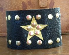 sale BLACK LEATHER CUFF bracelet with gold color studs and star by whackytacky.com, $19.99