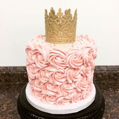 Pink and gold princess first birthday smash cake   Cami's Cake Co. in Eudora, KS  http://www.facebook.com/camiscakeco
