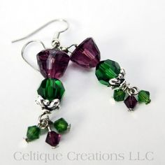Scottish Thistle Crystal Earrings Handmade Jewelry with Swarovski Bead | celtique_creations - Jewelry on ArtFire