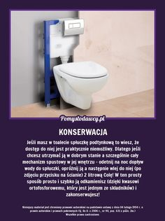 NIEZWYKŁY TRIK NA KONSERWACJĘ SPŁUCZKI PODTYNKOWEJ! Housekeeping, Home Remedies, Life Hacks, Diy And Crafts, Household, Cleaning, Soda, Inspiration, Organization
