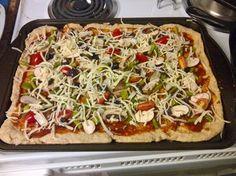 No Yeast Pizza Crust #1: flour, salt, bkg pwdr, milk, coc.oil, seasonings