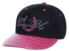 Cowgirl Up Womens Black Cotton Faux Gator Horseshoe Ball Cap