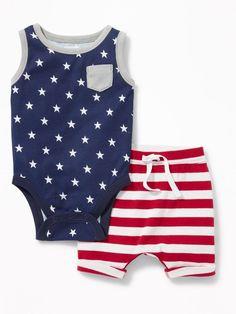 Old Navy Americana Bodysuit & Shorts Set for Baby Baby Boy Fashion, Fashion Kids, Toddler Fashion, Toddler Outfits, Baby Boy Outfits, Cute Babies, Baby Kids, Child Baby, Baby Newborn