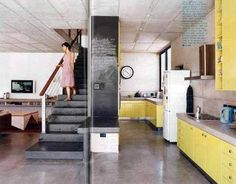 Yellow hipster kitchen
