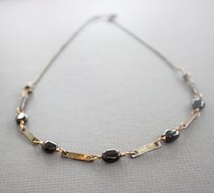 Garnet links beaded necklace with on chain Garnet by IngoDesign