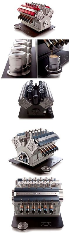 Here's an awesome V12 engine-shaped espresso machine. Maybe for the next garage.