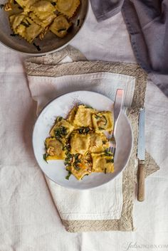 Try these seasonal potato and pumpkin tortelli and dress them with brown butter, crispy sage and toasted pine nuts.