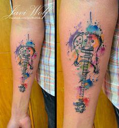 Watercolor + Sketch Bass Tattoo  Tattooed by @javiwolfink  www.javiwolf.com