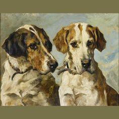 Bonhams 1793 : John Emms (British, 1843-1912) Coupled Foxhounds 7 x 9 in. (18 x 23 cm.)