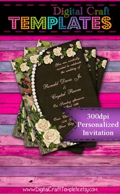 Personalized Printable Invitations   Elegant Camo   Beige Roses   Invitation   Wedding    #338