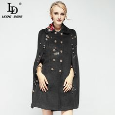 Aliexpress.com : Buy High Quality Women Winter Cloak Coats Double Breasted Luxury Button Floral Embroidery Wool Coat Overcoat from Reliable coat overcoat suppliers on LD LINDA DELLA Official Store
