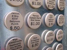 Chore Magnets - love this idea - each child can do which chore they want and make the money allotted