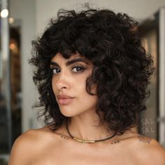 One sassy brunette bob, coming right up. Here is all of the short brown hair inspo to bring to the salon in Curly Bangs, Wavy Hair, Curly Hair Styles, Natural Hair Styles, Curly Shag Haircut, Thick Curly Hair, Natural Curls, Curly Girl, Long Curly