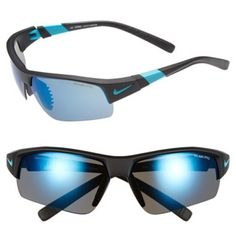$176.00 Nike 'Show X2 Pro' Semi Rimless 69mm Sunglasses Matte Black/ Turbo Green One Size