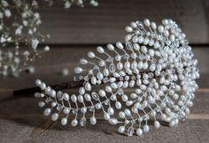 Bridal headpiece wedding side tiara vintage by JoannaReedBridal