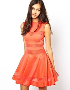 too bad it doesn't come in more colors! -- Club L Mesh Panel Skater Dress