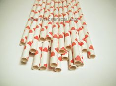 25 Red Heart Straws Drink Flags Party Favor Decoration Retro Soda Red Hot Hearts on Etsy, $3.99