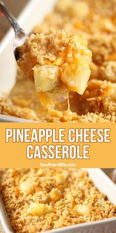 Pineapple Cheese Casserole – Southern Bite This Pineapple Cheese Casserole is a sweet and salty Southern favorite! This quick and easy recipe combines tangy, sweet pineapple pieces, sharp cheddar cheese, and buttery cracker crumbs! Pineapple Cheese Casserole, Easy Pineapple Casserole Recipe, Great Recipes, Favorite Recipes, Easy Recipes, Oven Recipes, Pineapple Recipes, Good Food, Yummy Food