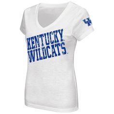 Juniors' Campus Heritage Kentucky Wildcats Shoutout V-Neck Tee, Women's, Size: Medium, Med Blue