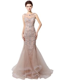 Formal Evening Dress - Sparkle & Shine Trumpet / Mermaid Bateau Floor-length Tulle with Beading - USD $229.99 ! HOT Product! A hot product at an incredible low price is now on sale! Come check it out along with other items like this. Get great discounts, earn Rewards and much more each time you shop with us!