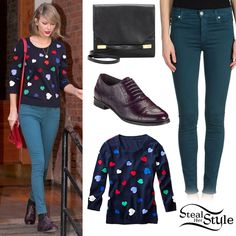 Taylor Swift left her apartment in New York City yesterday wearing a Talbots Heart Intarsia Sweater ($59.99), a pair of Hudson Denim Pants ($98.00) in Deep Jade, a pair of Cole Haan Mackenzie Oxfords (sold out) and her J.Mendel Midi Clutch ($1,650, Black).