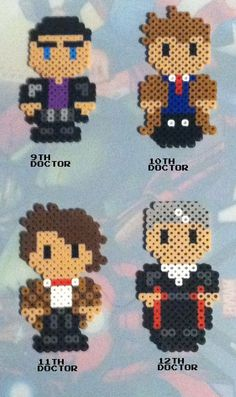 Doctor who perler beads...the 9, 10, 11, 12 Doctor