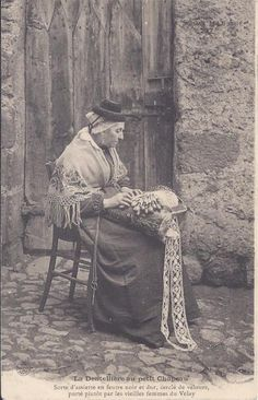 lacemaker from Le Puy en Velay Velay with rose pendant on chain and scissors Auvergne