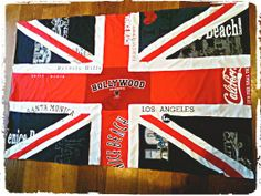 British Union Jack flag made from Los Angeles Tshirts I made for a client