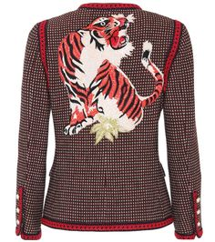 Gucci - Embroidered wool jacket - Gucci's Italian-crafted jacket has been crafted from pure wool and features an embroidered tiger at the back for an unexpectedly cool finish. The label's signature faux-pearl buttons complete look on a preppy note. seen @ www.mytheresa.com