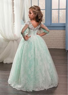 Buy discount Amazing Tulle & Lace Scoop Neckline Ball Gown Flower Girl Dresses With Beaded Lace Appliques at Magbridal.com