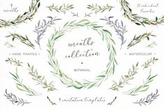 Watercolor wreaths and branches by Crocus Paperi on @creativemarket