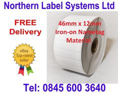 46mm x 12mm Pre-cut Iron-On labels (Rolls of 2,000) for desktop label printer