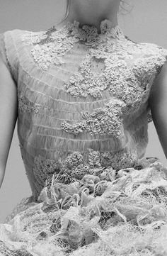 This lace dress is magnificent. I originally imagined this costume as Miranda's wedding dress. It is very detailed and much to elegant for the other scenes. There is texture, depth and pattern in this image.