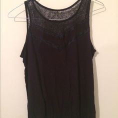 Just In Merona sheer lace & cotton jersey top Elegant Merona black sleeveless top-with sheer lace at front neckline & back placket, sleeveless NWOT pure black can be dressy or casual Merona Tops Blouses