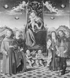 Francesco da Santacroce (Francesco Galizzi detto) - Madonna con Bambino in trono e santi - 1535-1540 - Accademia Carrara di Bergamo Pinacoteca
