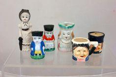 Vintage Figurines Japan Porcelain POttery 3 Tobys, 1 pr Salt & Pepper, Figurines