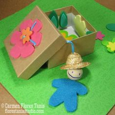 "Here's a fun little craft project to do with kids - ""Gardener Puppet In A Box"" - directions here: http://florestanisstudio.typepad.com/bzzy_little_bee/2012/07/cha-designer-craft-connection-little-gardener-puppet-in-a-b.html"