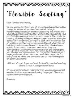 Flexible Seating: Letter home & contract