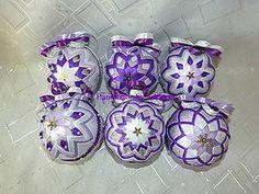 Dekorácie - Patchworkové fialovo-bielo-strieborné gule veľkosť 8 - 4537423_