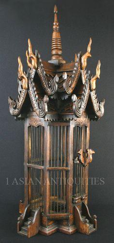 "Thai spirit house style wooden bird cage - 34"" Tall"