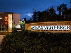 RSM Design Environmental Experiential Architectural Graphic Design Santa Ana College Backlit Monument Identity Signage Night