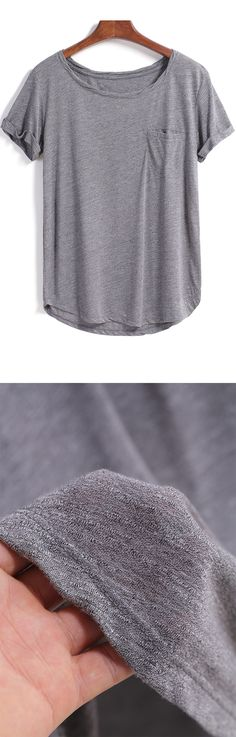 Loose cotton plain pocket t shirt in grey. Come romwe.com. for it& sign up for up to 60% off!